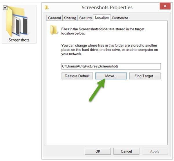 Как изменить папку скриншотов Windows 10?