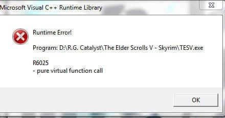 Как исправить ошибку R6025 pure virtual function call в Windows 10