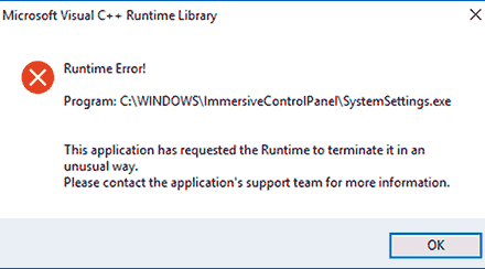 Ошибка Microsoft Visual C++ Runtime Library в Windows 10, 8.1 и 7